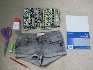 DIY Aztec Denim Shorts