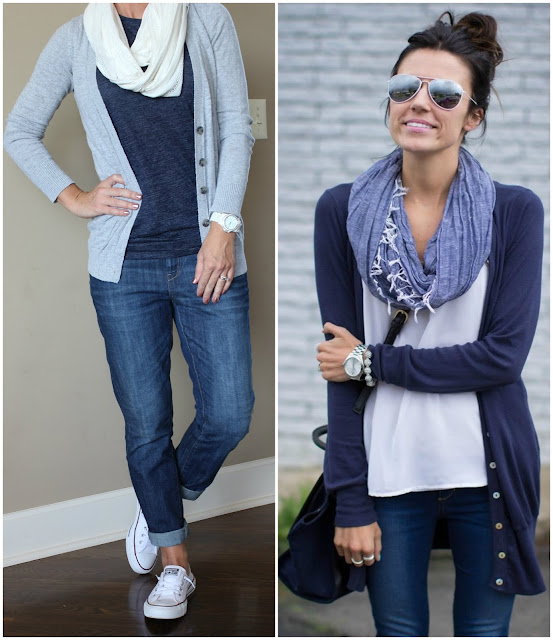Hello Fashion in a white top and navy sweater, gray cardigan sweater, gap navy tank, white scarf, Banana Republic Factory jeans