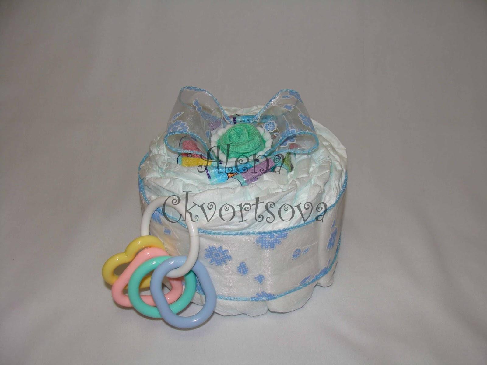 Торт из памперсов для девочки своими руками одноярусный 44