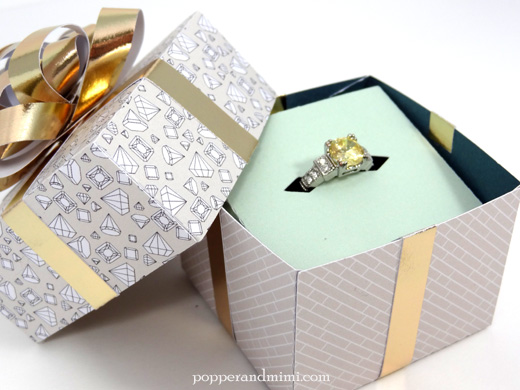Popper and Mimi Paper Jewelry Box with Gold Bow