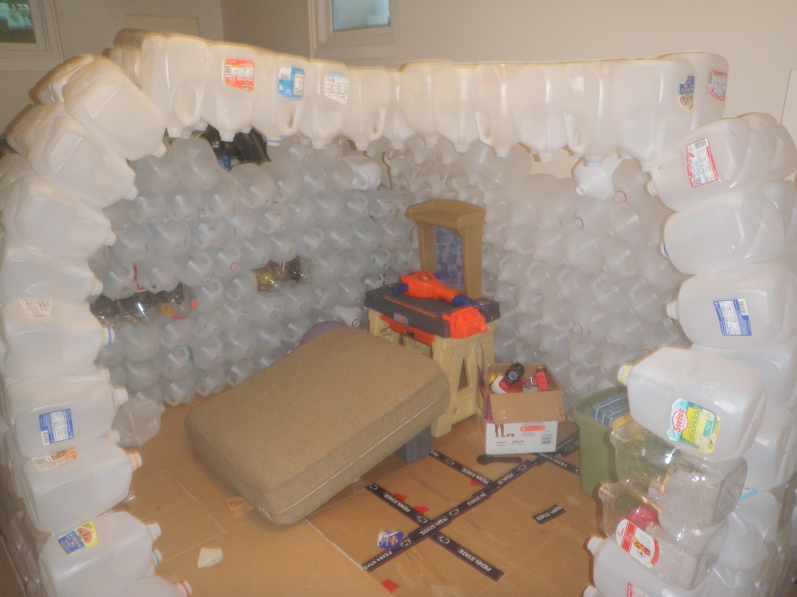 Adventures of action and wonder milk jug igloo for How to build an igloo out of milk jugs