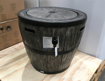 Warm up with the Global Outdoors Wine Barrel Gas Fire Table
