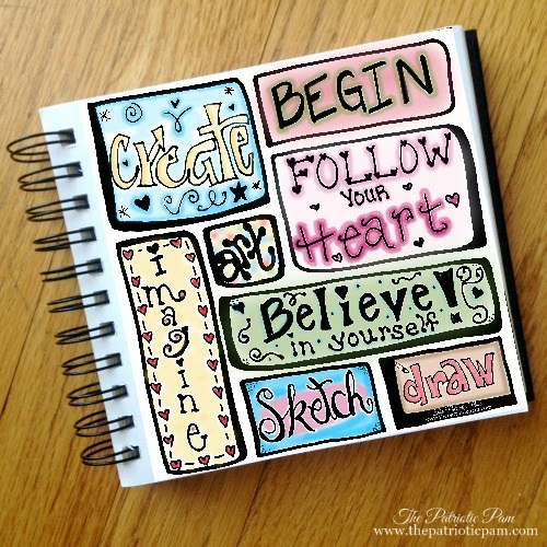 Sketchbook, hand lettered, doodle art, drawing