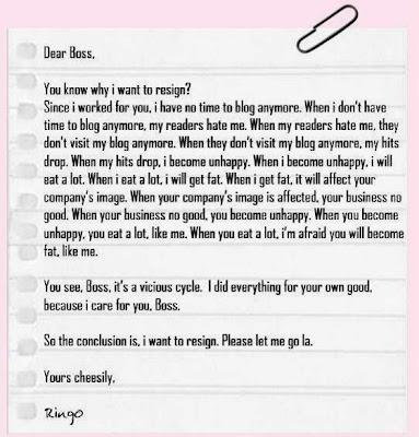 Berikut ialah contoh surat atau notis berhenti kerja 24jam, minggu