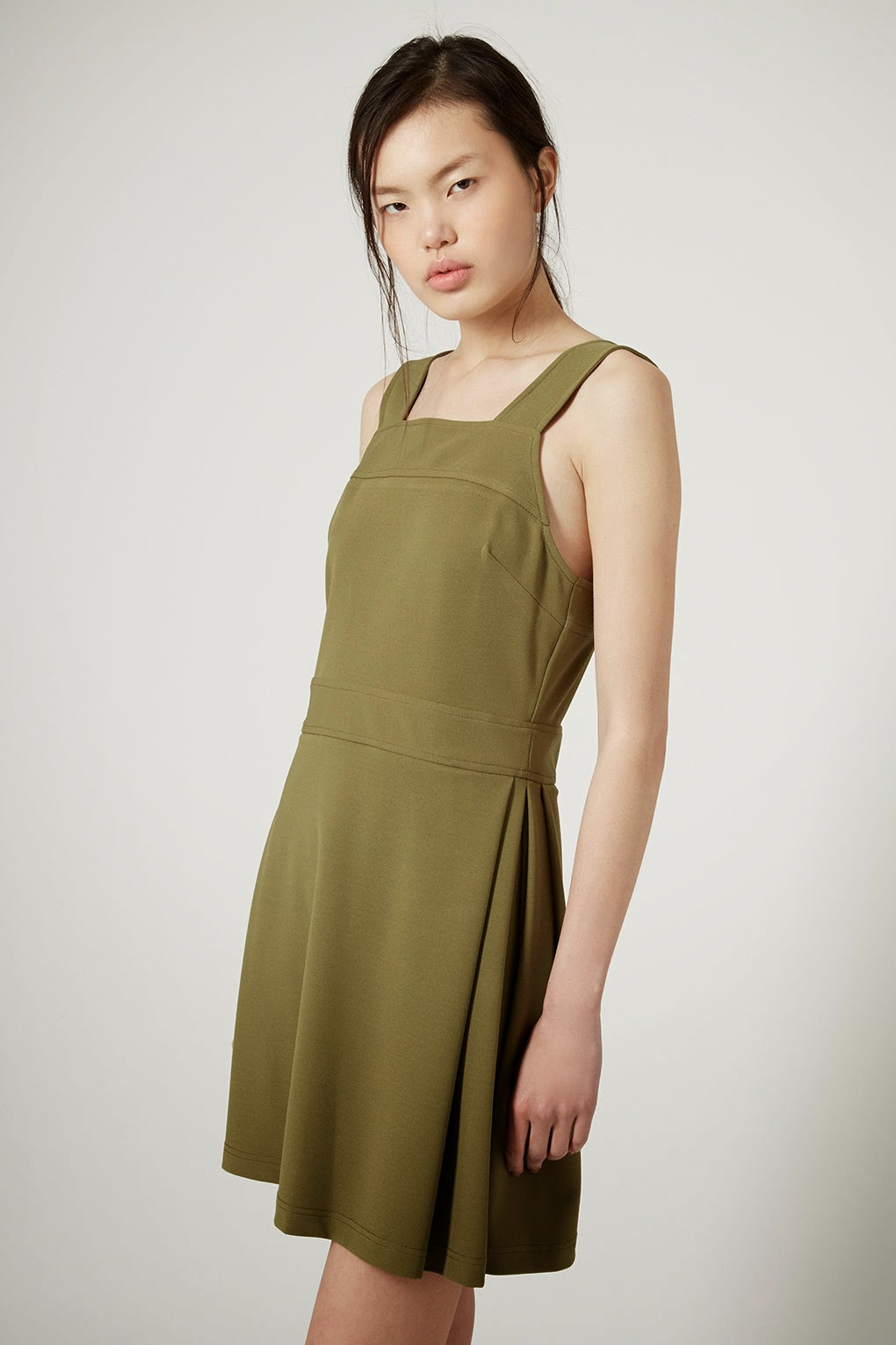 khaki green pinafore dress