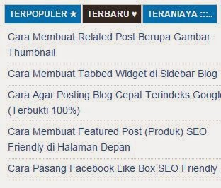 Tabbed Widget di Sidebar Blog