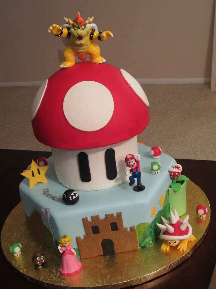 Super Mario Bros Cake Made For A 5 Year Old Boys Birthday Triple Chocolate Fudge And Vanilla Pound Layered Filled With Buttercream