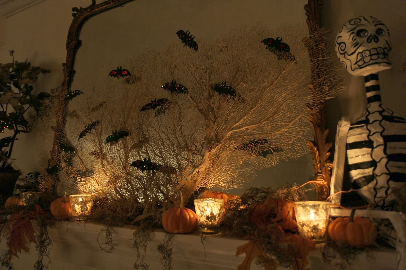 Spooky Glam Halloween Party - Living Room Mantle