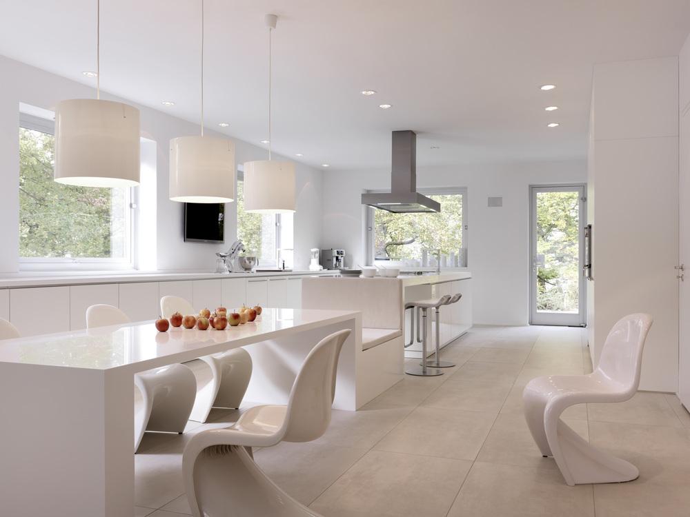 La cocina m s bella blanca con isla y mesa integrada - Cocinas con mesas ...