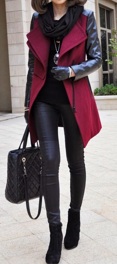 Winter street fashion, black shirt, leggings over red peacoat