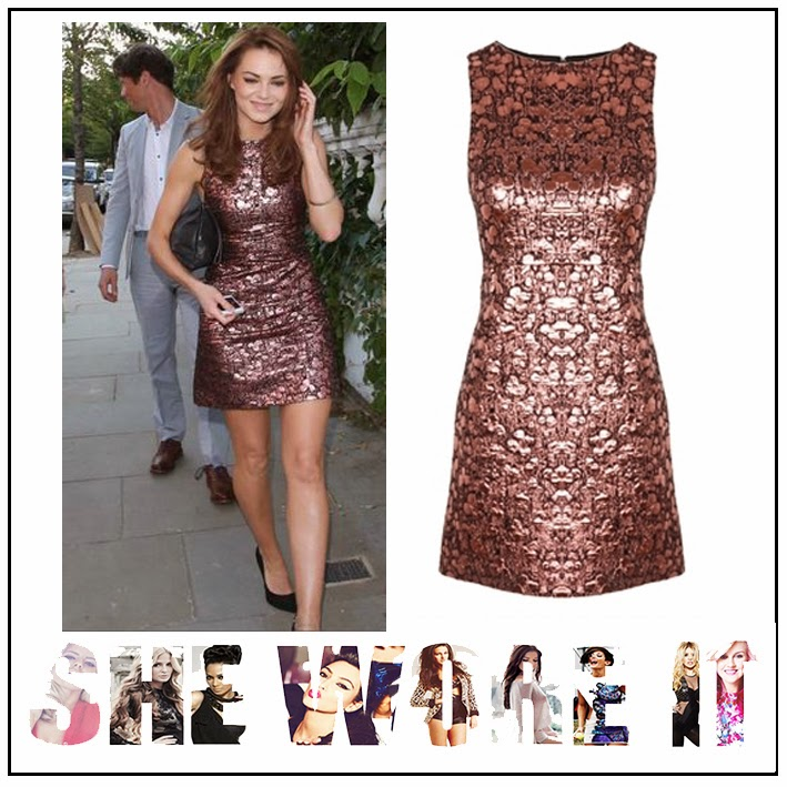 A-Line, Abstract Print, ALICE + OLIVIA, Bronze, Brown, Chocolate Brown, Dress, ITV Summer Party, Kara Tointon, Metallic, Mini Dress, Shift Dress, Sleeveless, Textured,