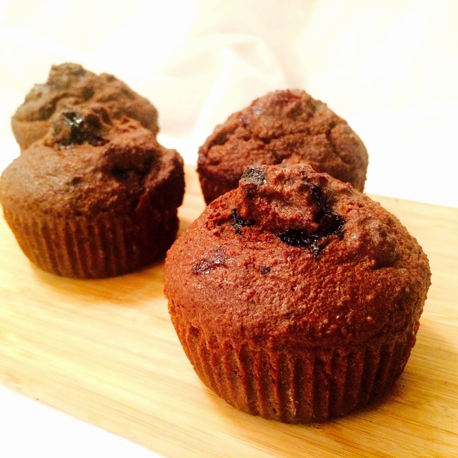 Chocolate Blueberry Almond Spelt Muffins Recipe
