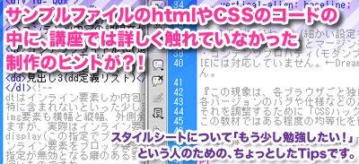 サンプルファイルのhtmlやCSSのコードの中に、講座では詳しく触れていなかった制作のヒントが?!スタイルシートについて「もう少し勉強したい!」という人のためのちょっとしたTipsです。