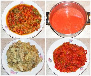legume proaspete coapte pentru a prepara zacusca de vinete gogosari ardei capia si ciuperci, retete culinare, retete de mancare, legume taiate bucati pentru zacusca, retete cu suc de rosii,
