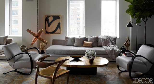 elle decor beautiful gray white neutral living room