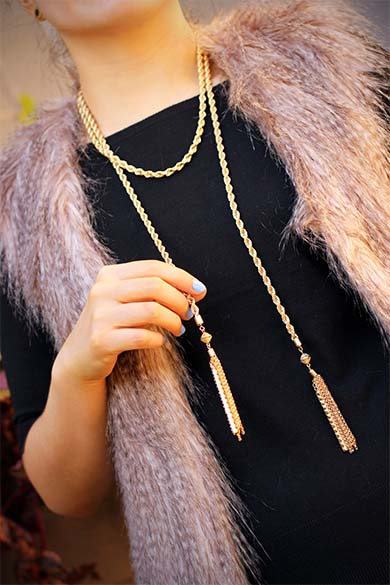 Jeweliq gold tassel rope necklace