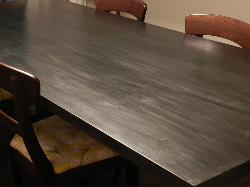 MY FAUX ZINC TABLE TOP AND REUPHOLSTERED CHAIRS