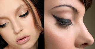 using liquid eyeliner, using white eyeliner, using mascara, using eyeshadow, using makeup, using eye makeup, dark eyeliner make up, put dark eyeliner