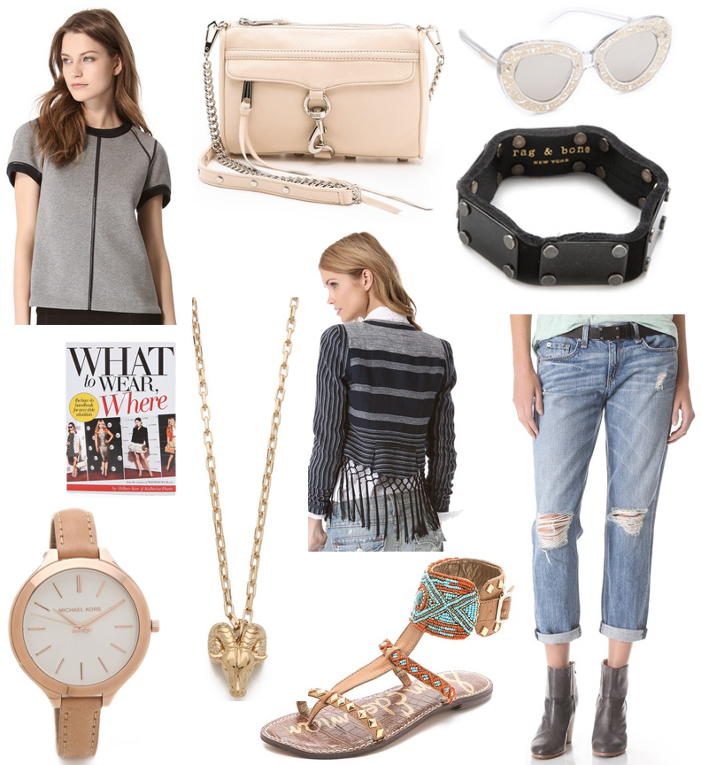 style, style blog, fashion blog, style collage, rebecca minkoff, rebecca minkoff emerson fringe linen jacket, theory, theroy lomy reversible top, tory burch, tory burch necklace, tory burch ram head pendant necklace, rag and bone, rag and bone jean boyfriend jeans, sam edleman, sam edleman gabranna ankle cuff sandals, rag and bone cuff, rag and bone multi plate bangle, michael kors, michael kors leather slim runway watch, mk watch, karen walker, karen walker sunglasses, karen walker intergalactic sunglasses, what to wear where, book, fashion book, fashion reads