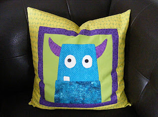 finished monster pillow