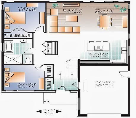 Planos de casas plano de casa de un piso for Plano para cocina americana
