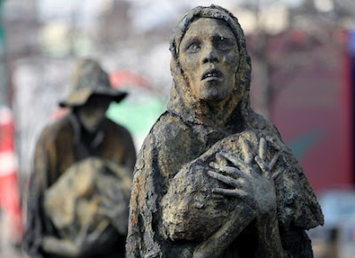 The Famine memorial on the quays in Dublin City