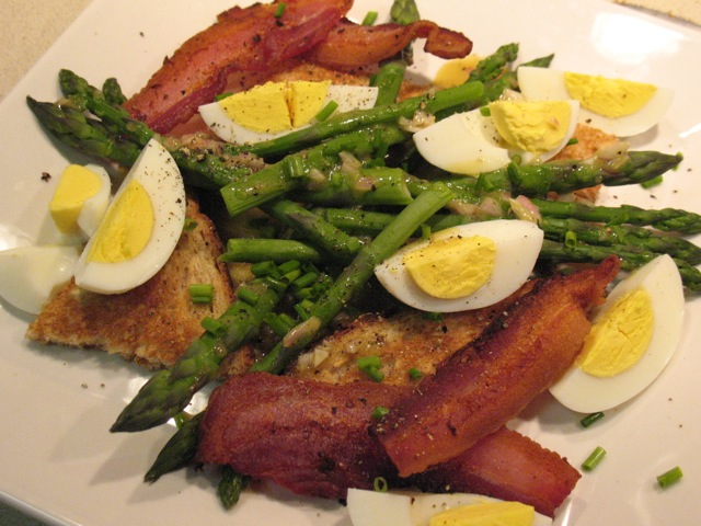 Cook In / Dine Out: Asparagus with Mustard Dressing, Bacon and Eggs