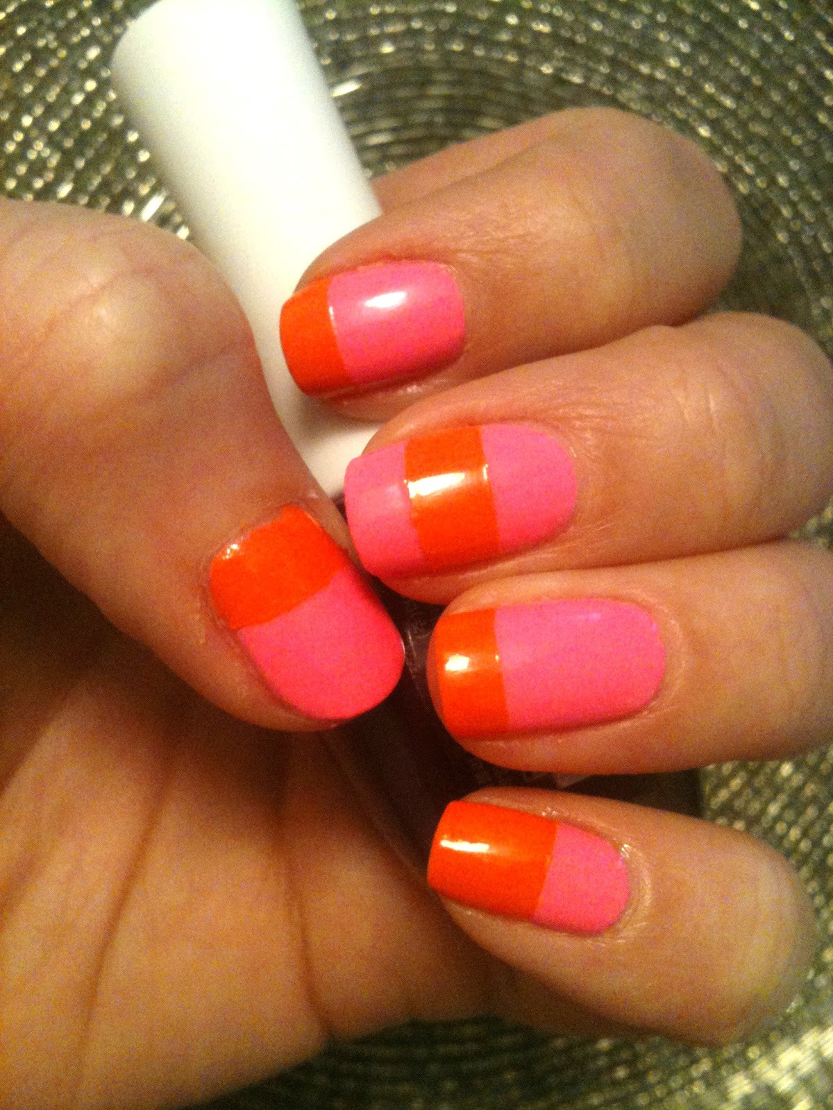 Pinkish Orange Color Color block nails - hot pinkPinkish Orange Color Name