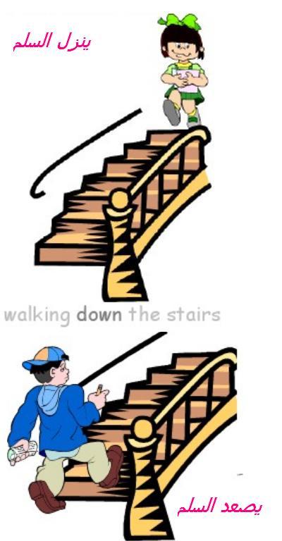 التعبير عن صعود ونزول السلم بالصور للأطفال والمبتدئين  -walking down -walking up