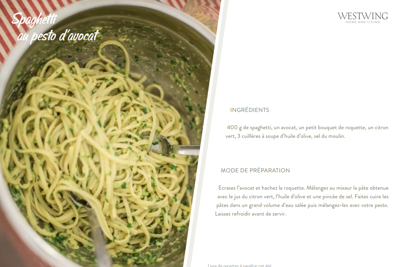 recette : Spaghetti au pesto d'avocat