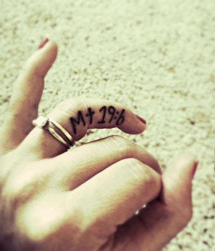 ♥  ♫ ♥ Ring finger tattoo. Matthew 19:6 what god has joined together let man not separate. Christian tattoos. Tattoos for girls. ♥  ♫  ♥