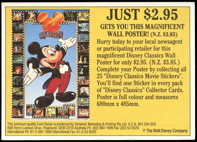 DISNEY CLASSICS DYNAMIC 1993 Complete POSTER STICKERS Sticker Card Set 25