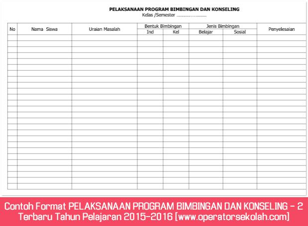 Contoh Format PELAKSANAAN PROGRAM BIMBINGAN DAN KONSELING - 2 Terbaru Tahun Pelajaran 2015-2016 [www.operatorsekolah.com]