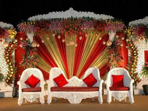 Wedding Stage decoration Golden Wedding Stage