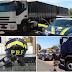 PRF apreende carro roubado, arma e caminhões com a carga irregular