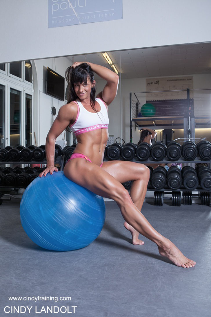 Cindy Landolt Modeling Her Fit Body On A Stability Ball