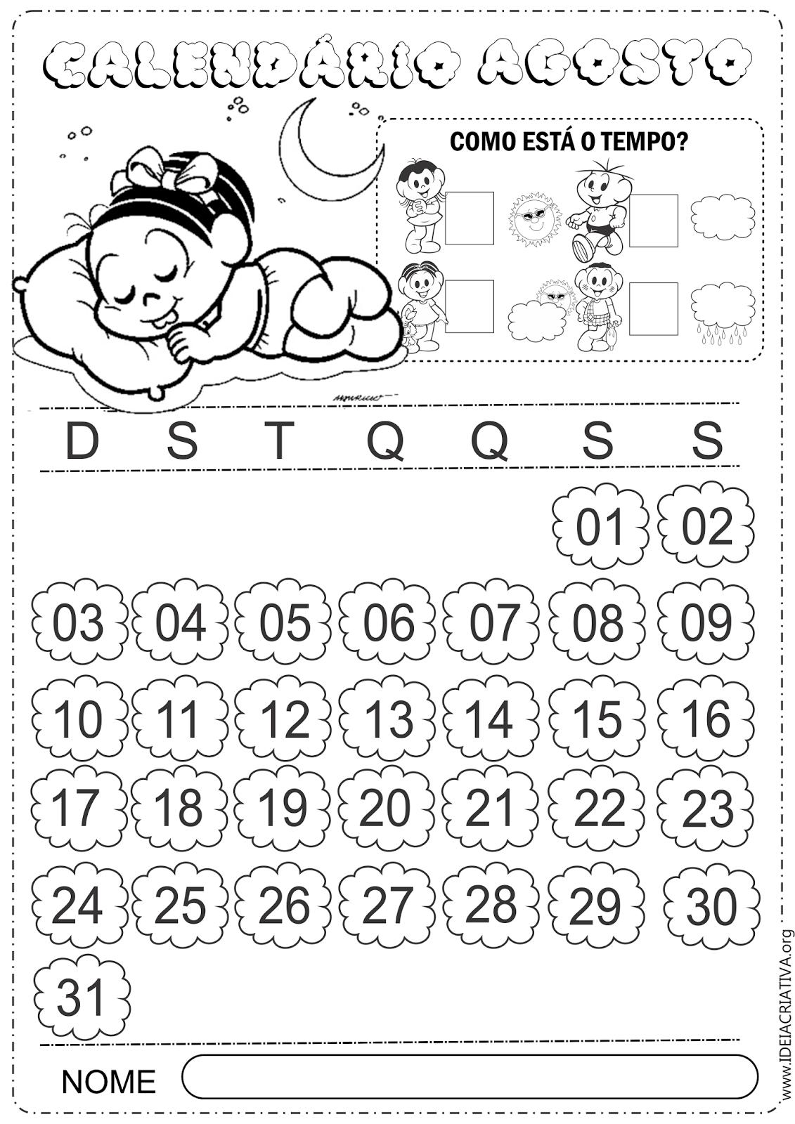 Calendário Agosto 2014 Turma Mônica Baby Colorir