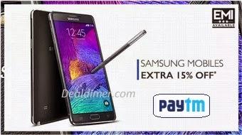 Samsung Mobiles Extra 20% or 15% Cashback – PayTm