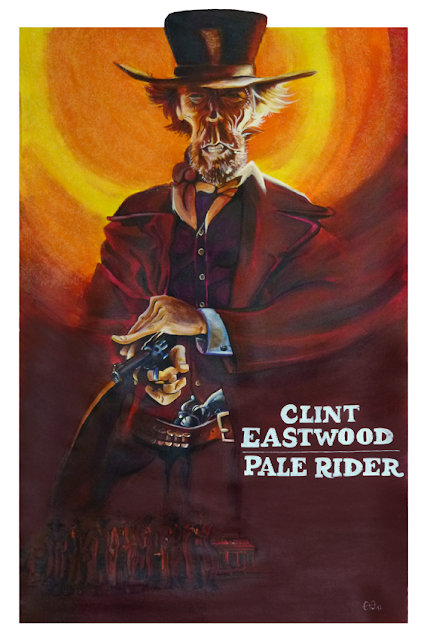 Caricature de Clint Eastwood - affiche italienne Pale Rider