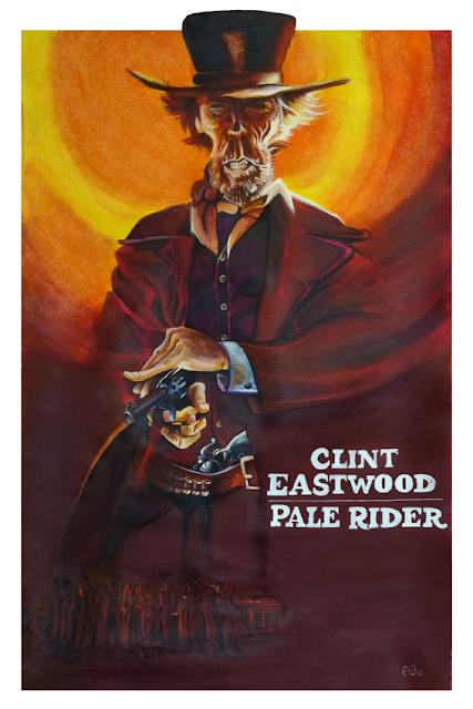Caricature de Clint Eastwood - affiche italienne Pale Rider