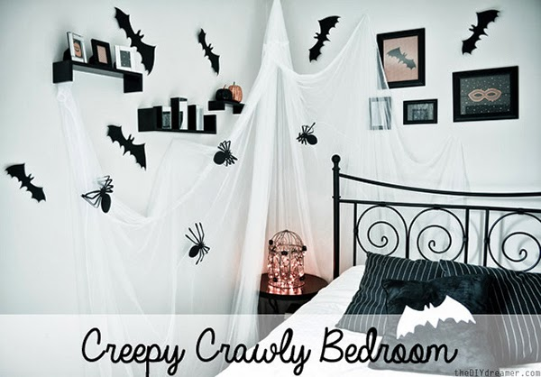 A Spooky Bedroom decorated perfectly for Halloween