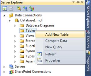 Server Explorer Add New Table