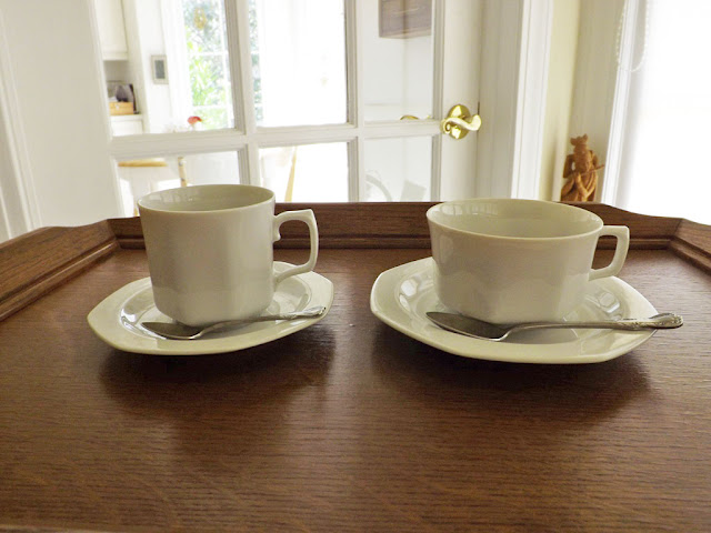 Frontal View Of Coffee Cup To The Left And Tea Right