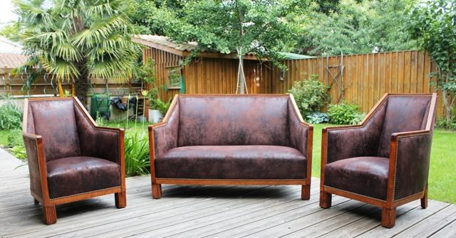 l 39 atelier de marjorie alais salon art d co imitation cuir vieilli. Black Bedroom Furniture Sets. Home Design Ideas