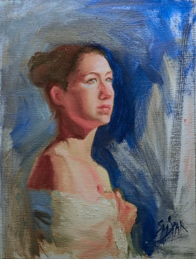 Oil study of Asian woman