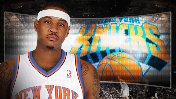 carmelo anthony knicks number 7. Carmelo Anthony is back where