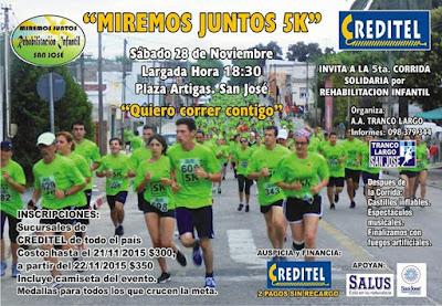 """5k Miremos juntos """"Quiero correr contigo"""" por la rehabilitación infantil (San José, 28/nov/2015)"""