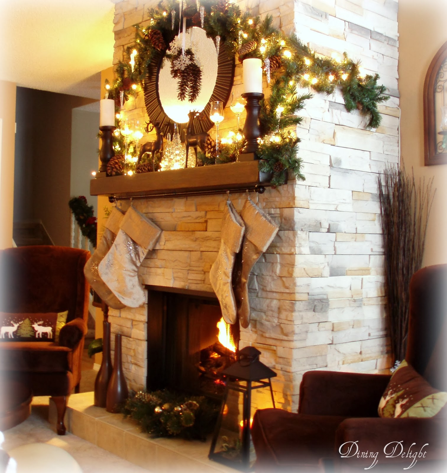 Dining delight rustic natural christmas mantel