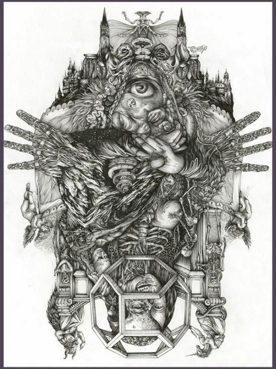 DZO Olivier arte ilustração sombria gótica caneta preto e branco impressionante