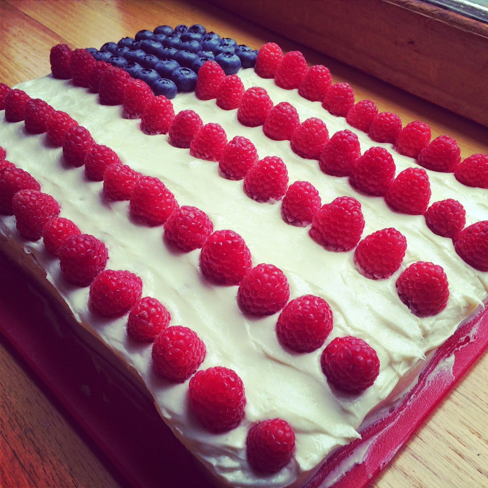 American Flag Sheet Cake with Cream Cheese Frosting